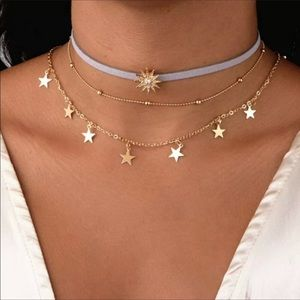 ✨3/$15✨Gold Colored 3 Layer Star and Moon Necklace